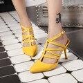Alta Gladiador saltos finos sapatos da moda Cinta Fivela Do Dedo Do Pé Apontado mulheres sapatos Clássicos de Banda Estreita Partido Bombas sandálias de Verão
