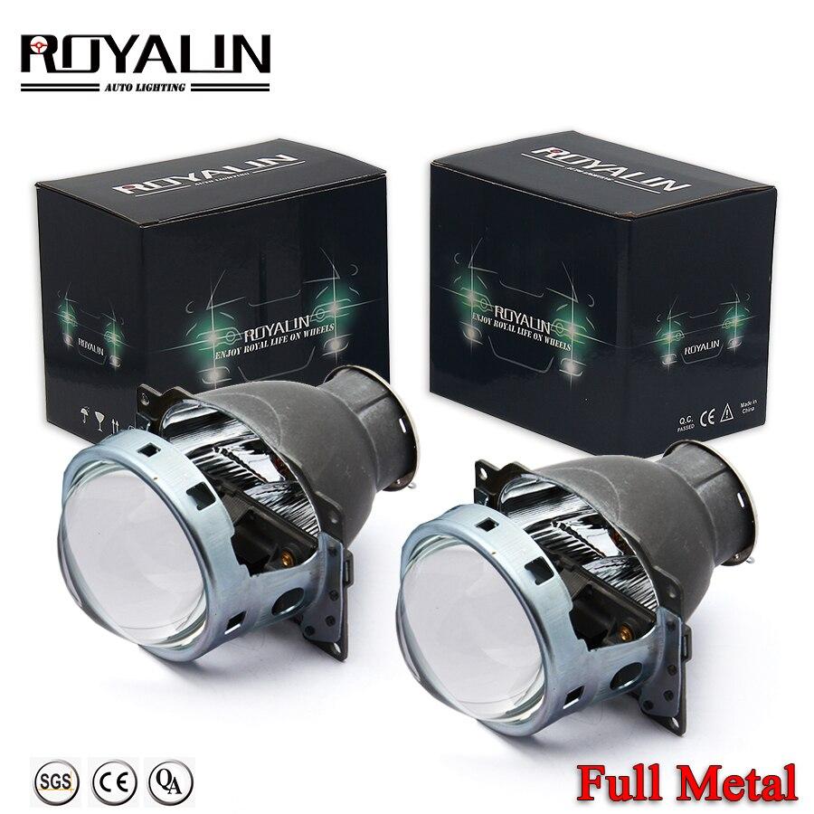 ROYALIN Car Q5 Headlights Lens Halogen Bixenon H7 Metal Projector 12V LHD RHD for Automobiles D2S D2R External Lamps Retrofit