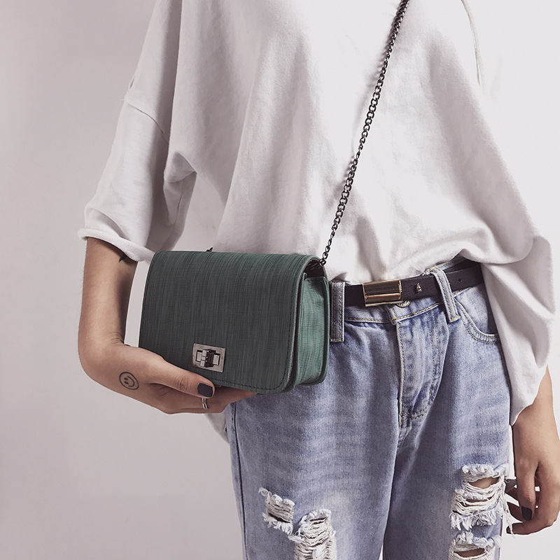 2018 summer new cloth twist lock bag Korean version of the tide female bag chain shoulder diagonal pouch 0708
