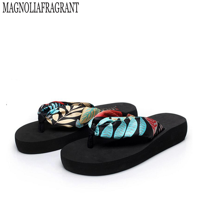 2017 new women shoes bohemian silk sandals and slippers slope with beach flip-flops chaussure femme s227 summer new leather sandals and slippers women sandals slope with thick crust outdoor leather lady slippers women s shoes