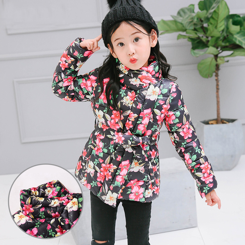 Winter Jackets For Girls Kids Fashion Floral Printed Parka Coats Thick Warm Children Girls Outwear Girls Cotton-padded Jacket 12m 6y baby girl clothes zipper winter jacket girl coats cotton padded warm kid parka thick girls jackets children down outwear