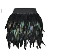 2016 Latest New Women Feather Mini Skirt Elastic Waist High Street One Size Fits For S