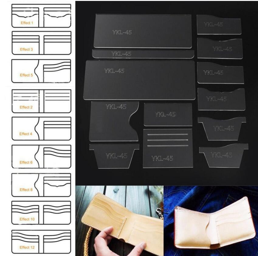 13Pcs New Clear Acrylic Wallet Pattern Stencil Template Set Leather Craft DIY Tool Sewing Pattern Sewing Stencils