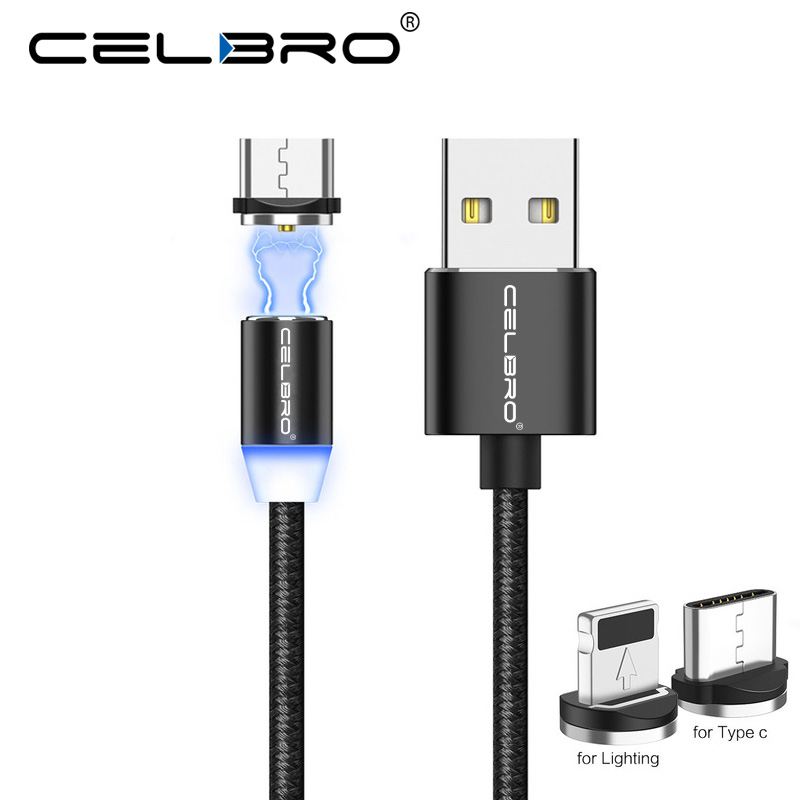 Cables y adaptadores Móviles y telefonía 1 M 2 M Cable 3in1 Tipo C/IOS/Micro Usb Cargador magnético adaptador Lote Redondo Android