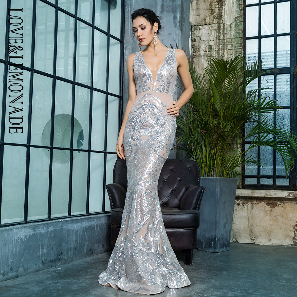 Love Lemonade Deep V Neck Geometric Sequins Mesh Lining Sleeveless Long Dress LM81336SILVER