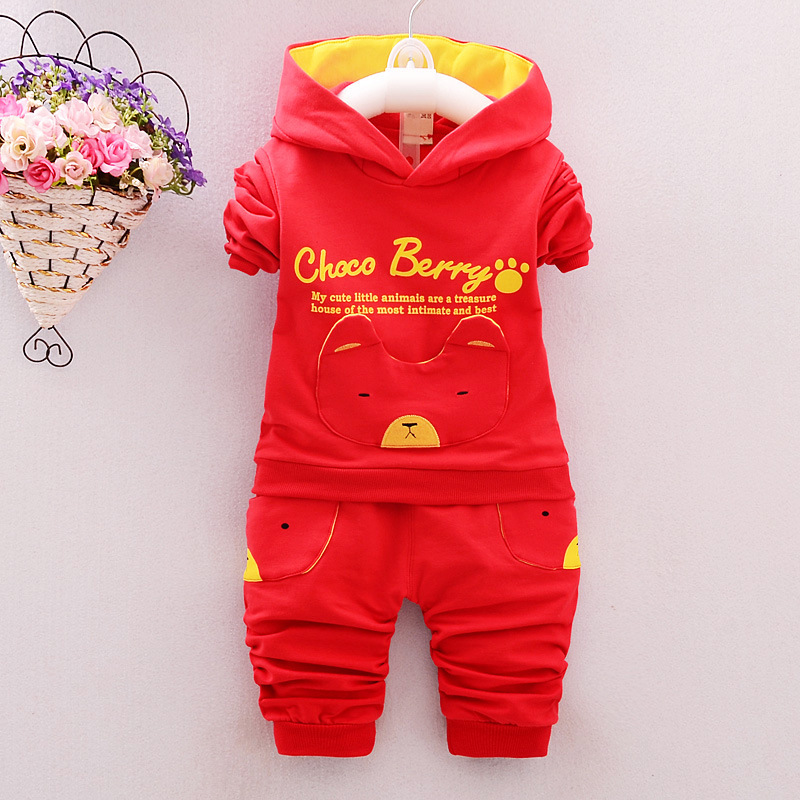 2016 new autumn fashion baby cartoon clothing sets hooded jacket trousers suit for infant chilren boys