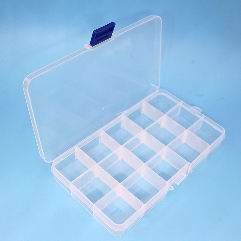 15 Lattice Transparent Plastic Jewelry Fittings Receiving Box Removable Electronic Components  Fishing Gear  Parts