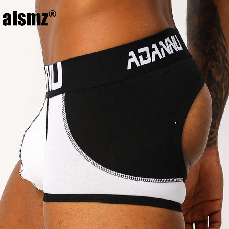 Aismz Sexy Gay Men Underwear Jockstrap Briefs Sissy Panties Breathable Cueca Non Back Jock Strap Thongs Men String Penis Pouch