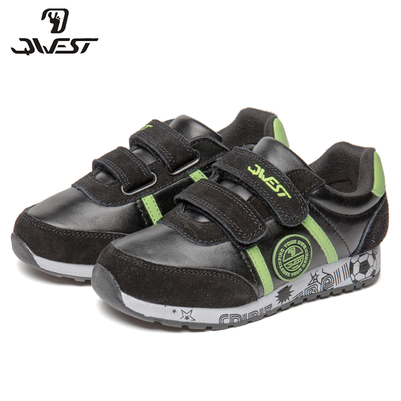 QWEST Brand Leather Insoles Breathable Arch Children Sport Shoes Hook& Loop Size 27-33 Kids Sneaker for Boy 91K-ES-1366 qwest brand leather insoles spring