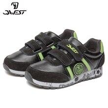 QWEST/фирменные кожаные стельки; дышащие детские спортивные ботинки с застежкой-липучкой; размеры 27-33; детские кроссовки для мальчиков; 91K-ES-1366