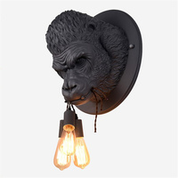 Resin Gorilla Ape Wall Lamps Modern Simple Wall Light Fixtures for Home Decor Loft Industrial Bedroom E27 Bedside Lamp Wall Art