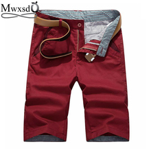 Mwxsd brand Summer men s casual cotton Shorts Men solid slim fit knee length zip Shorts