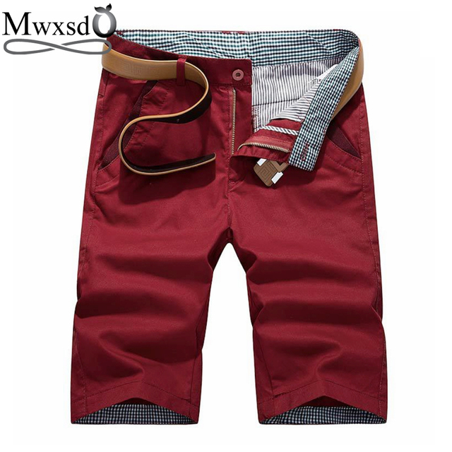 Mwxsd brand Summer men's casual cotton Shorts Men solid slim fit knee length zip Shorts male breathable shorts bermuda masculina