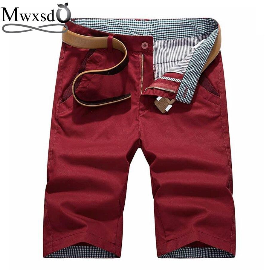 Mwxsd marca de Verão dos homens Shorts de algodão casuais Homens slim fit sólida na altura do joelho zip Calções masculinos respirável shorts bermuda masculina