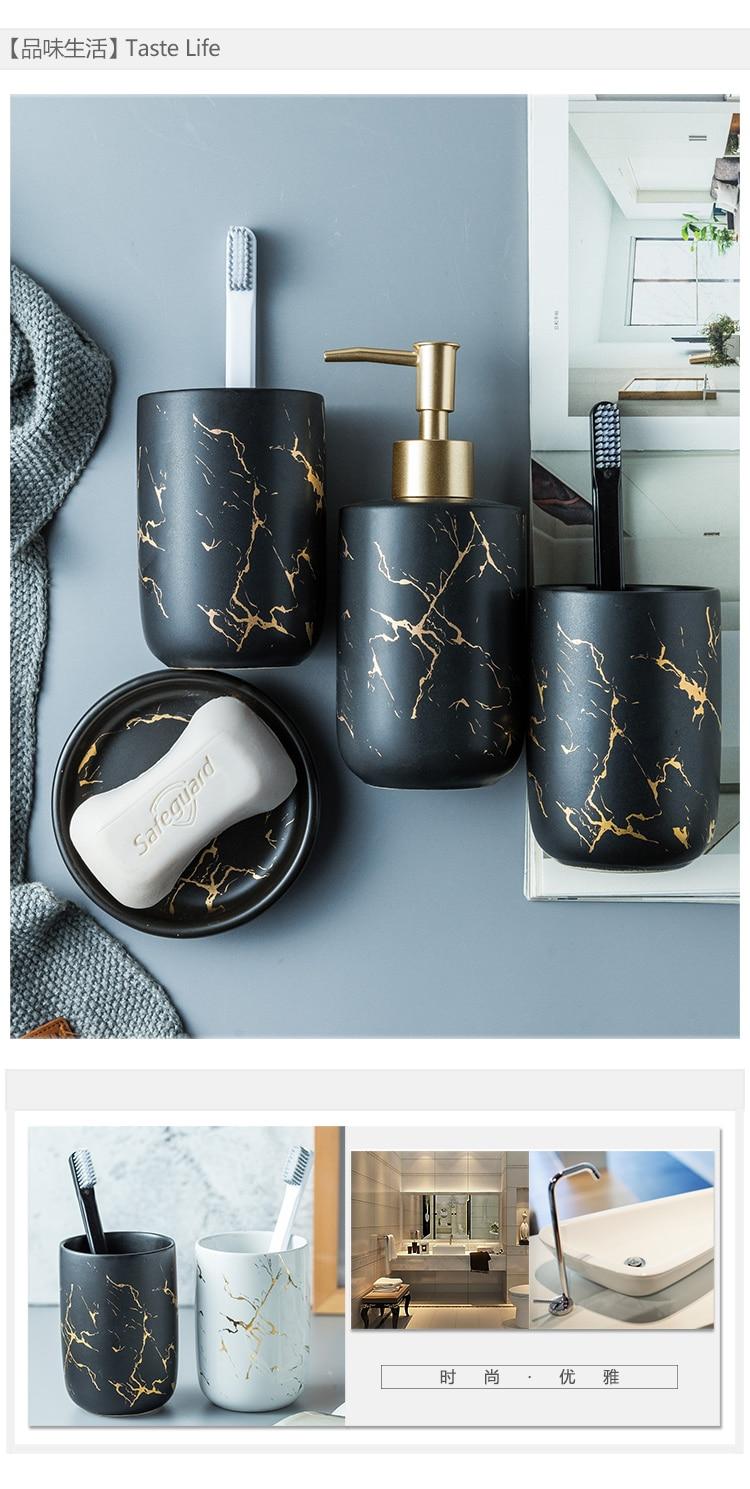 Imitation Marble Ceramics Bathroom Accessories Set Soap Dispenser Toothbrush Holder Tumbler Soap Dish Bathroom Products Bathroom Accessories Sets Aliexpress