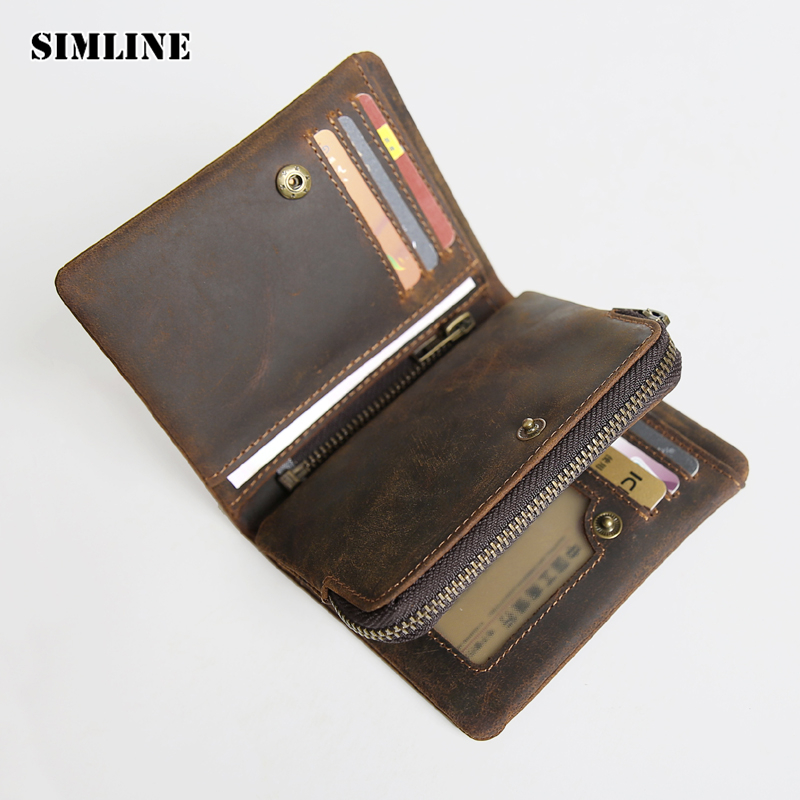 SIMLINE Vintage Genuine Crazy Horse Cow Leather Men Men's Short Wallet Wallets Purse Card Holder With Zipper Coin Pocket Brown genuine leather mens wallet black hasp men purse with zipper coin pocket portfolio male short card holder vertical men wallets