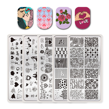 BORN PRETTY 5 PCS Valentine's Day Stamping Template Rectangle Love Heart Line Couple Rose Flower Nail Art Image Plate Set