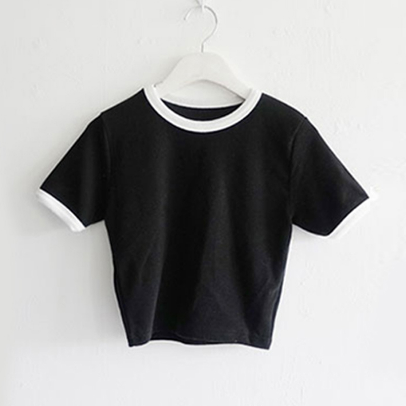 T-Shirts Pullover Crop-Tops Short-Sleeves Slim-Fit Skinny Round-Neck Ql-Sale Women Summer title=