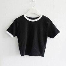 Women Summer Crop Tops Skinny Slim Fit Short Sleeves Round Neck Pullover T-shirt