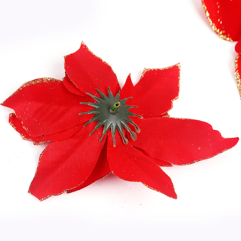 christmas flowers with flocking christmas tree decoration pendant 13cm gold red christmas flower artificial flower decoration in artificial dried - Red Christmas Flowers