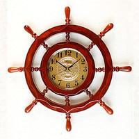 Decoration Art quartz watches The large clock creative anchor rudder Chinese living room wall clock retro wooden classic quartz