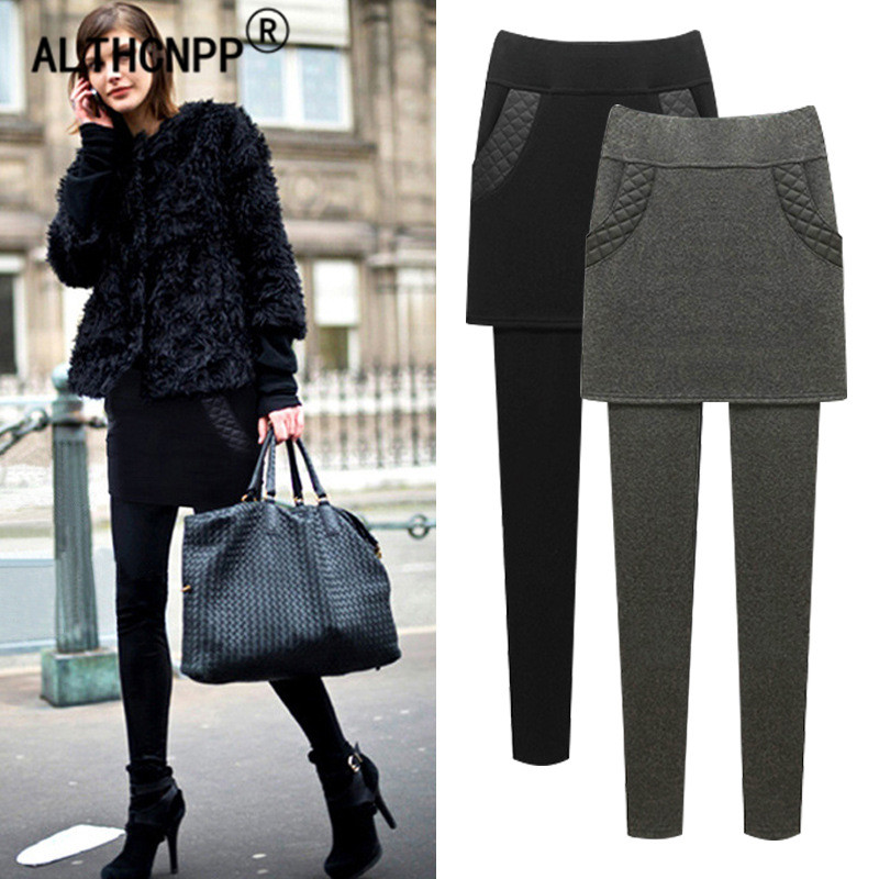 M-6XL Plus Size Thicker Keep Warm Women Winter   Leggings   Female Casual Outer Wear Pants Skirt Sweatpants High Waist   Leggings