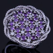 Enchanting Big Flower Purple Cubic Zirconia White CZ 925 Sterling Silver Ring For Women V0522 цена
