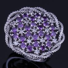 Enchanting Big Flower Purple Cubic Zirconia White CZ 925 Sterling Silver Ring For Women V0522