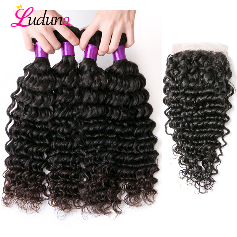 Luduna Brazilian Deep Wave Hair Bundles With Closure 3 Bundles Human Hair Weave With Closure 4
