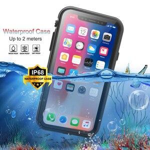 Image 1 - 360 pełna ochrona prawdziwa wodoodporna obudowa dla iPhone 11 XS XR XS pro max skrzynki pokrywa pancerz dla iPhone x xs max Funda sprawa odporna na wstrząsy