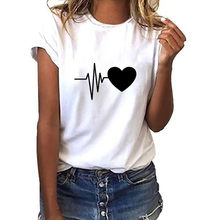 Harajuku Tshirt For Women Summer T-shirts Fashion Lovely Heart Print Short Sleeve O Neck Black White Female Streetwear Tops Tee(China)