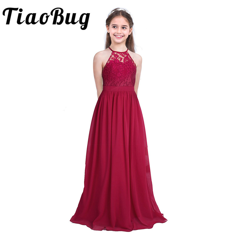 Tiaobug Embroidered Flower Girls Dress Halter Sleeveless Bridal Wedding Prom Party Formal Occasion Teenage Floor Length Dress