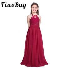 Tiaobug Embroidered Flower Girls Dress Halter Sleeveless Bridal Wedding Prom Party Formal Occasion Teenage Floor Length Dress