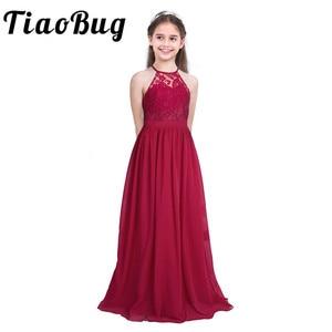 Image 1 - Tiaobug Embroidered Flower Girls Dress Halter Sleeveless Bridal Wedding Prom Party Formal Occasion Teenage Floor Length Dress