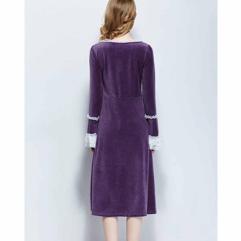 47f3e8b92ec5 ... Purple Velvet Long Sleeve Nightgown Women Warm Winter Sleepwear Vintage  Lace Patchwork Mid-Calf Night ...