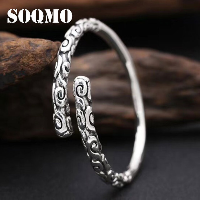 SOQMO Real Solid 999 Sterling Silver Adjustable 4mm Vintage Buddha Open Cuff Bracelet Bangle Men Women Punk Handmade Men Jewelry