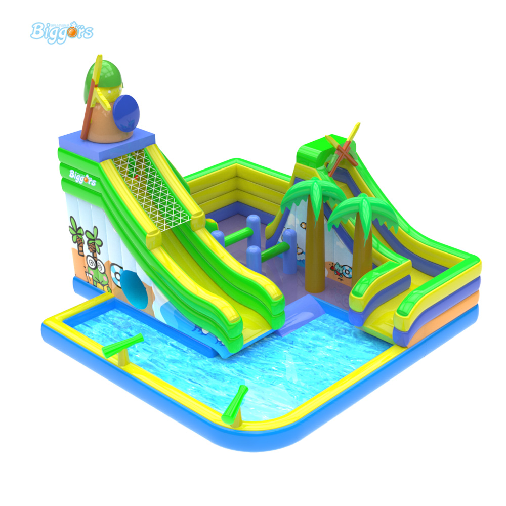 Outdoor Commercial Mini Water Park Inflatable Water Slide With Pool With Air Blower popular best quality large inflatable water slide with pool for kids