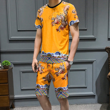 Loldeal Summer Robes Check Set Mens Short-sleeved T-shirt Shorts Huanglong Print Luxury Suit