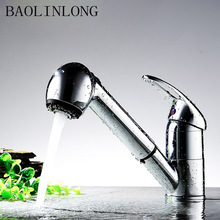 BAOLINLONG Brass Deck Mount Bathroom Faucet Basin Vanity Vessel Sinks Mixer Tap Pull Out