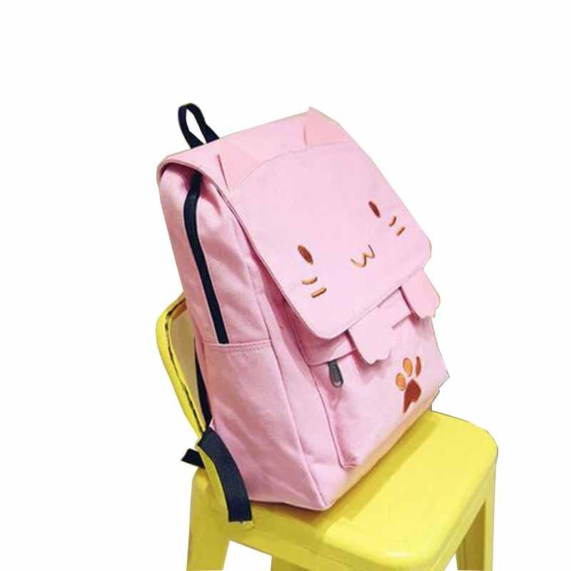2 Ragazze 2 beige Zaino Per 1 black Casual Cat pink Blue Ricamo Cute Zaini W215z 1 sky Pink Adolescenti pink Fumetto Tela Scuola Mochila Del Patchwork Sacchetto Nero Di qB08F