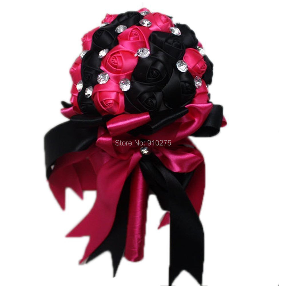 Handmade black hot pink satin roses decorative wedding flowers getsubject aeproducttsubject izmirmasajfo