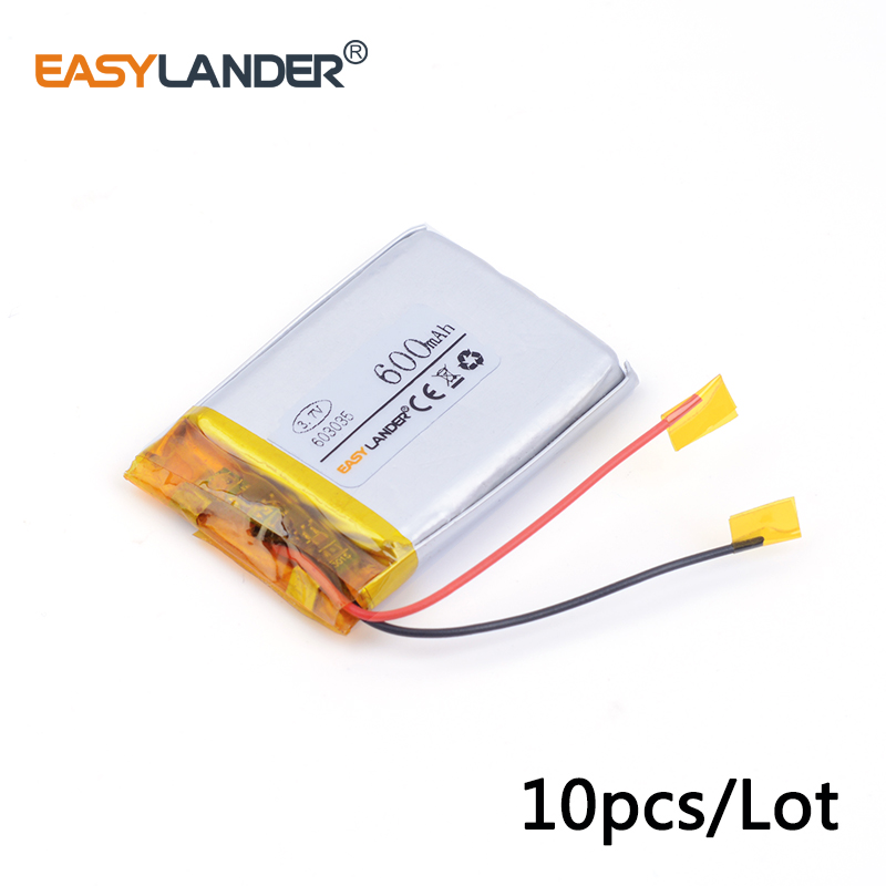 10pcs/Lot 603035 600MAH 3.7v lithium Li ion polymer rechargeable battery For MP3 MP4 GPS ...
