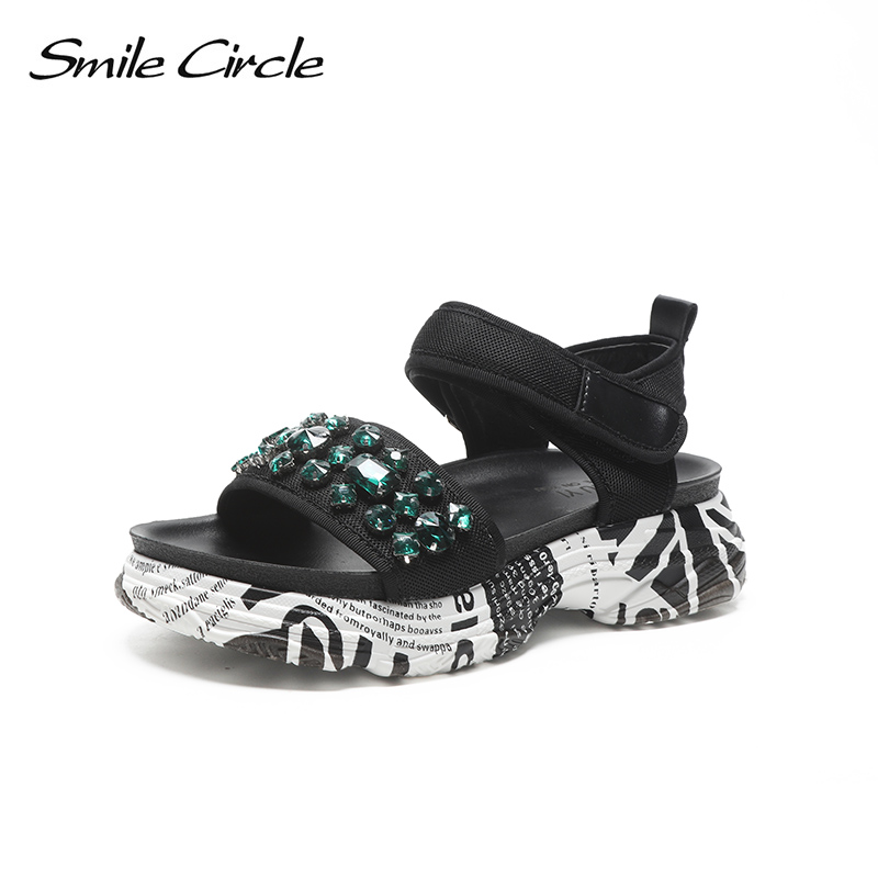 Smile Circle Summer Sandals Women Fashion Rhinestone Flat platform shoes Women sandals chaussures femme ete 2018 Summer shoes women creepers shoes 2015 summer breathable white gauze hollow platform shoes women fashion sandals x525 50