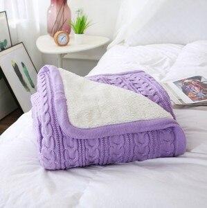 Image 1 - Cammitever 100% 코튼 고품질 양 벨벳 담요 겨울 따뜻한 니트 담요 소파/침대 커버 퀼트 니트