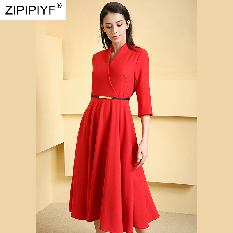 2019 Women's A-Line Dress Spring Fashion Wear Criss-Cross Solid Color Red 3/4 Sleeve Sashes Mid-Calf Dresses Party Vestido H5709