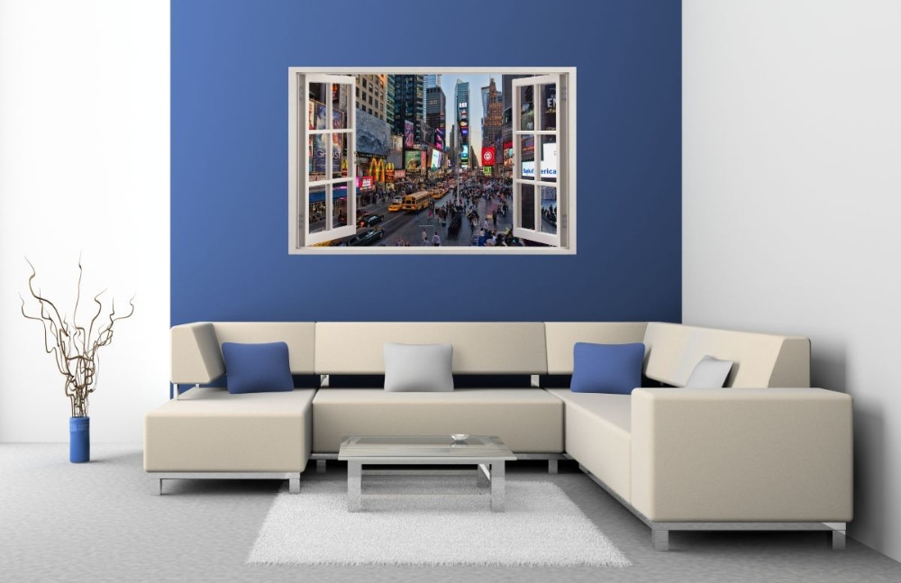 3D Effect Window WALL STICKERS NEW YORK Times Square Sticker Decor ...