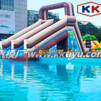Matching of Inflatable Slide in Water Pool Customization of Water Paradise Slide