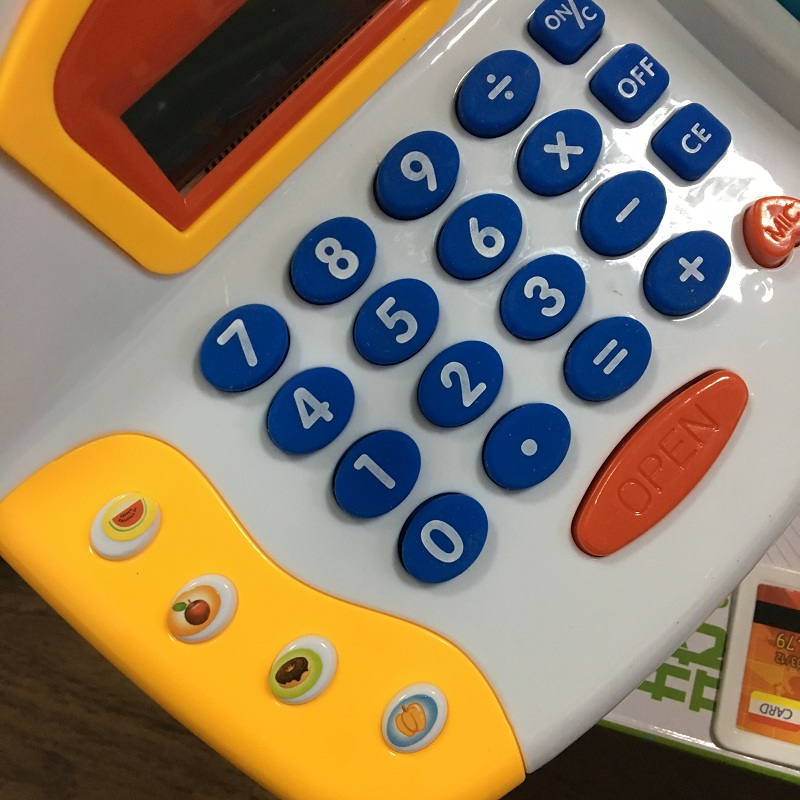 17PCS Kids Supermarket Cash Register Electronic Toys with Foods Basket Money Children Learning Education Pretend Play Set