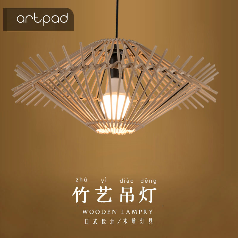 Artpad Hand Knitted Rattan Pendant Light E27 Wicker Lamp UFO Lights Dining Room Restaurant Cafe Tea House