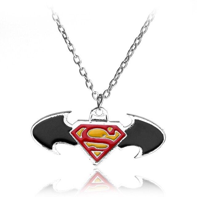 Sc Fashion Movie Jewelry Batman Superman Symbol Chain Necklace Black